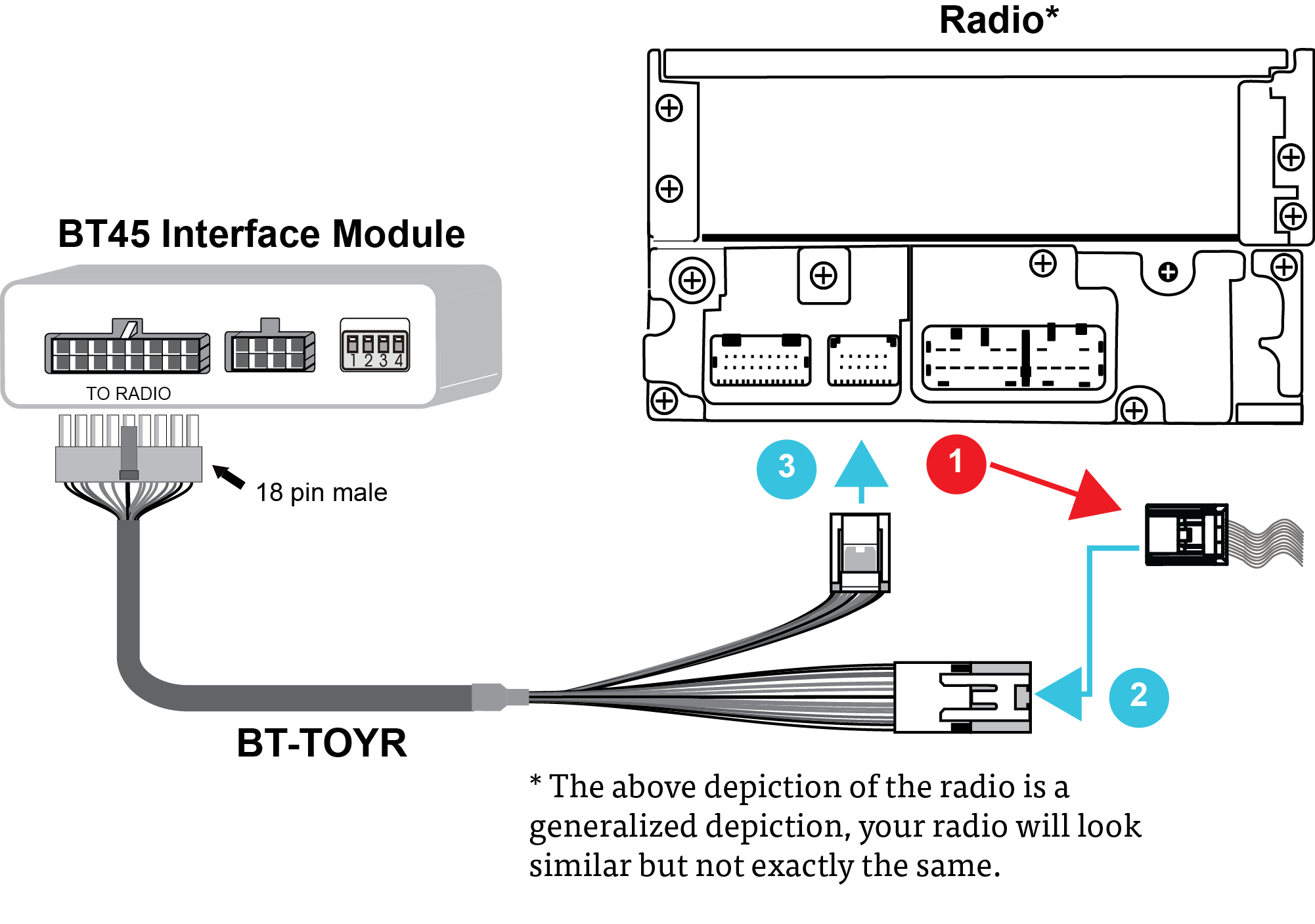 BT-TOYR Cable Connection Diagram